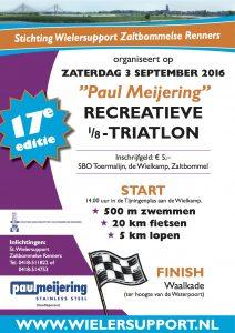 Affiche Paul Meijering 17de recreatieve 1/8 triatlon 2016